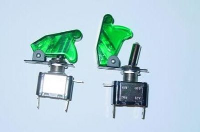 AIRCRAFT TOGGLE SWITCH GREEN CLEAR COVER, LED GREEN