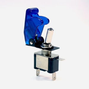AIRCRAFT TOGGLE SWITCH BLUE CLEAR COVER, LED BLUE